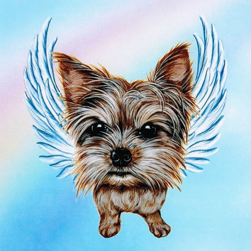 Yorkshire Terrier Angel - Yorkshire Terrier Art - Yorkies - Yorkie Angel - Dog Angels - Pet Memorial - Rainbow Bridge - Weeze Mace - 8x10