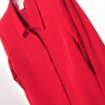 Classic Women's Red Jacket  Coat Quality Fine Wool Gabardine Austin Reed