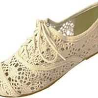 Womens Crochet Oxfords Flat Shoes Lace Up (7/8, Cream 5001)
