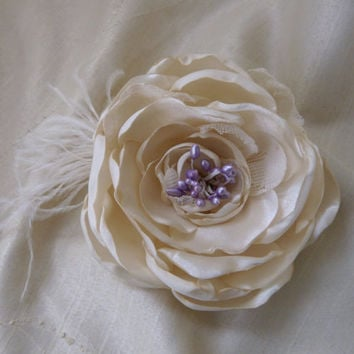 Ivory Bridal Hair Accessory, Wedding Ivory Flower, Ivory Flower Hair Clip, Wedding Satin Flower