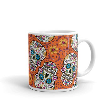 Sugar Skulll Day of The Dead ORANGE Mug