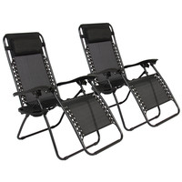 NEW Zero Gravity Chairs Case Of (2) Black Lounge Patio Chairs Outdoor Yard Beach
