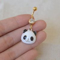 bellybutton rings panda bellyring 14g cute belly button piercing,belly ring