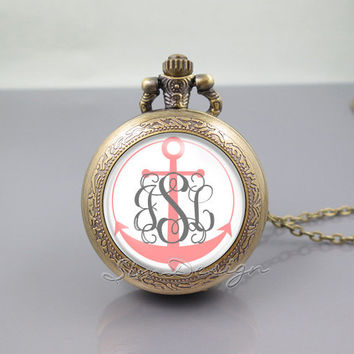 Anchor Monogram Pocket Watch Locket Necklace,vintage pink pendant -ALL Can changed![ Font style,Anchor color,Font color,Background color...]