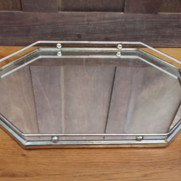 Vintage Gold Toned Octagon Hollywood Regency Style Mirrored Dresser Vanity Tray