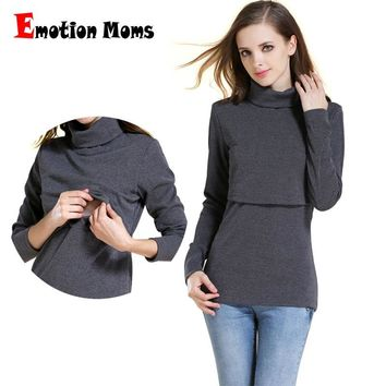Emotion Moms Winter Turtleneck Warm Long Sleeve Cotton Maternity T-shirt Nursing Tops Breastfeeding clothes for Pregnant Women