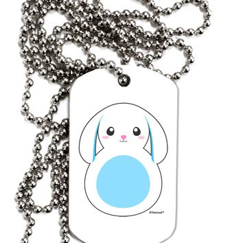 Cute Bunny with Floppy Ears - Blue Adult Dog Tag Chain Necklace by TooLoud