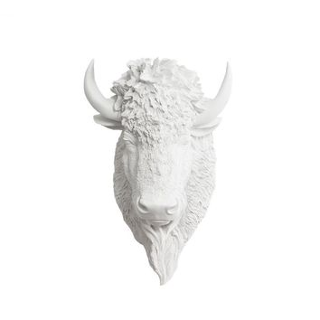 The Yellowstone | Large Buffalo Bison Head | Faux Taxidermy | White Resin