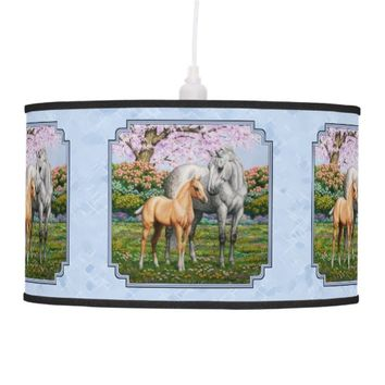 Quarter Horse Mare and Foal Blue Ceiling Lamps