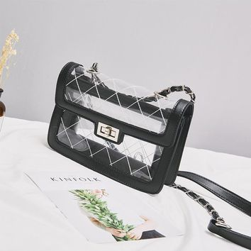 Fashion Transparent Plaid Women's Shoulder Bags Clutches Small Purse Party Pouch Flaps Bags Messenger Summer Jelly Bag BA243