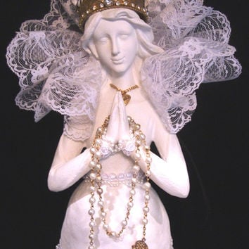 Santos Cage Doll OOAK White and Gold with Matching Crown, Rosary and Jewelry