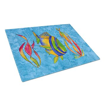 Troical Fish and Seaweed on Blue Glass Cutting Board Large 8713LCB