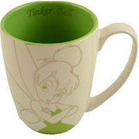disney parks green and white tinker bell rhinestone ceramic coffee mug new