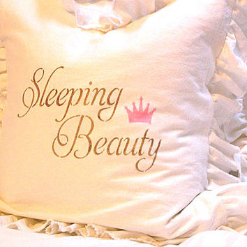 Made To Order White Linen Blend Ruffled Pillow SLIP COVER ONLY Brown Sleeping Beauty and Pink Crown Design