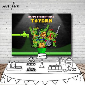 Teenage Mutant Ninja Turtles Photography Backdrop Cartoon Children Birthday Party Backgrounds For Photo Studio Custom 7x5FT