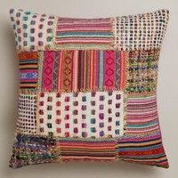 Multicolor Patchwork Whipstitch Throw Pillow - World Market