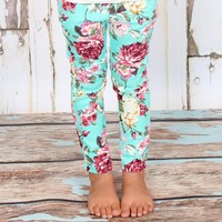 Fabulous Turquoise Floral Jeggings - Ryleigh Rue Clothing by MVB