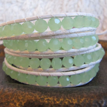 Mint Green Crystal Beaded Leather Wrap Bracelet with White Leather