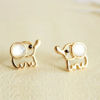Sweet Little Opal Elephant Earrings &Studs