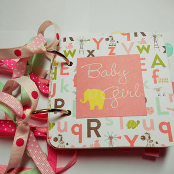 Baby Girl Mini Scrapbook Album, Baby Girl Photo Album, Baby Girl Scrapbook, Baby Girl Brag Book, Baby Girl Mini Album, Chipboard
