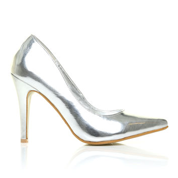 DARCY Silver Metallic PU Leather Stilleto High Heel Pointed Court Shoes