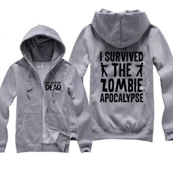 I Survived The Zombie Apocalypse Hoodies - Men's Novelty Hooded Tops