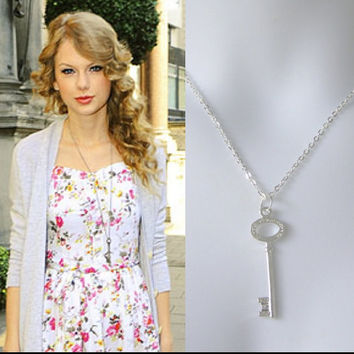 Key Necklace - Celebrity Inspired Tiffany Diamond Look - Taylor Swift Style - long chain