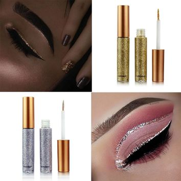 2017 New Glitter Eyes Make Up Liner For Women Easy to Wear Waterproof Pigmented Red White Gold Liquid Eyeliner Glitter Makeup