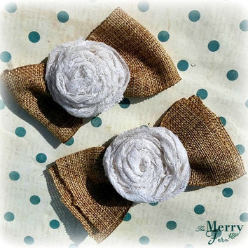 White Lace Rose Bows/ Rustic Lace Bows/ Handmade Lace Bows/ Set of 2 White Rose Bows