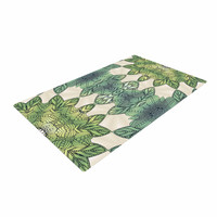 "Art Love Passion ""Forest Leaves"" Green Teal Celtic AbstractWoven Area Rug"