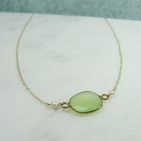 Pearl chrysoprase and gold necklace petite by OliveYewJewels