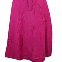 Mogul Womens Long Skirt Pink Passion Embroidered Daytime Dynamo Vintage Skirts
