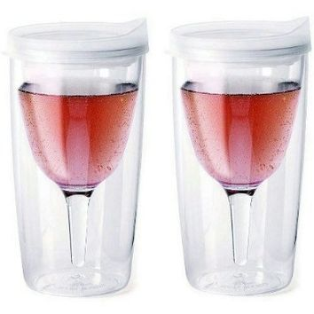 2 Non Spill Plastic Wine Glasses To 2 Go Vino Tumbler Cup w/ Drink Thru Lid 9 oz:Amazon:Kitchen & Dining