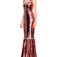 Sleeveless Paillettes Mermaid Gown, Rose Gold