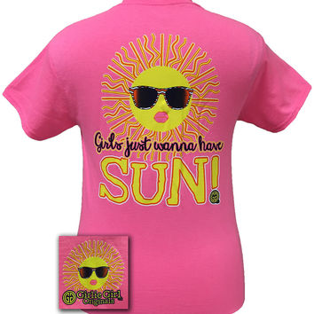 Girlie Girl Originals Funny Girls Just Wanna Have Sun Fun Tan Beach Pink Bright T Shirt