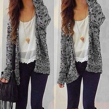 Gray and Black Double Pocket Long Sleeve Cardigan