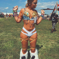 Sun and Moon Deep Plunge Bra (L E D lights): bohemian, Rave Wear, Rave, edc, EDC Outfit, Festival Outfit, Rave Outfit, cosplay, edm