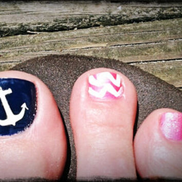 Nautical Anchor Toe Nail Vinyl Decal