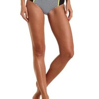 Black Combo Striped High-Waisted Bikini Bottoms by Charlotte Russe