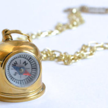 Follow You Anywhere - Dive Helmet Compass antique and light gold extra long necklace