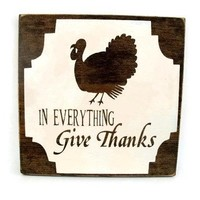 Thanksgiving Rustic Wood Sign Wall Hanging Home Decor - In Everything Give Thanks (#1229)