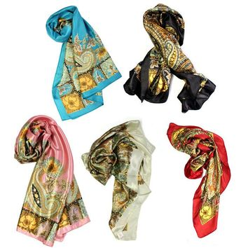 New Pattern Large Square Scarf Silk Head Scarves Shawl Wrap Kerchief Jecksion #LSN