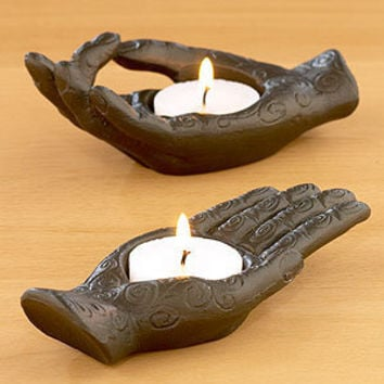 Aluminum Hand Tealight Holders, Set of 2 | Candles and Candleholders| Home Decor | World Market