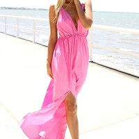 Pink Plunge Neck Maxi Dress with Open Back & Split Skirt