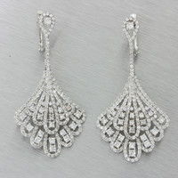 Modern 14k Solid White Gold 4.76ctw Diamond Cluster Chandelier Earrings