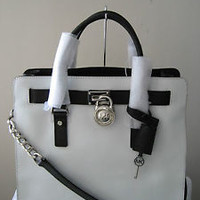 NWT MICHAEL KORS LARGE HAMILTON OPTIC WHITE/BLACK SAFFIANO LEATHER TOTE BAG $358