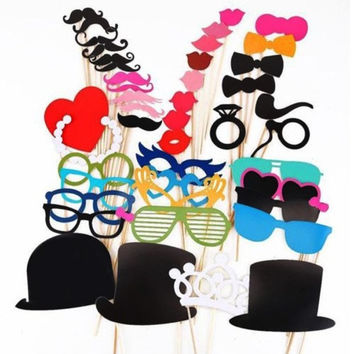 44pcs Photo Booth Props Moustache Lips on A Stick Weddings Christmas Birthday Supplies Mustache Party Favors Sv011688|26601 = 1745555012