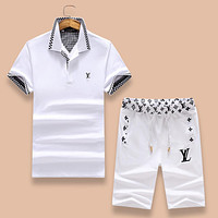 Louis Vuitton LV Popular Women Men Comfortable Cotton Lapel Short Sleeve T-Shirt Top Tee Shorts Set Two-Piece White I-A00FS-GJ