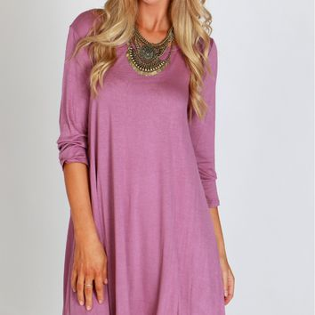 Jersey Shift Dress Old Mauve