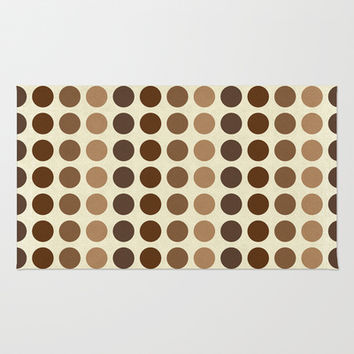Shades Of Brown Polka Dots-Textured Area & Throw Rug by Inspired By Fashion